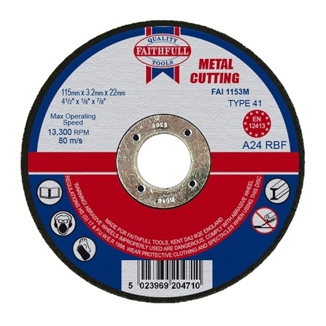 Slijpschijf metaal 115x3,2x22,2mm vlak Faithfull-0