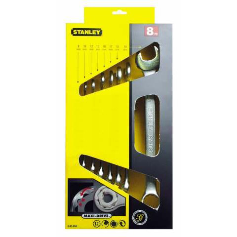 Ringsteeksleutelset Stanley Maxi Drive-kop 8-delig 8-22mm | 4-87-054-1164